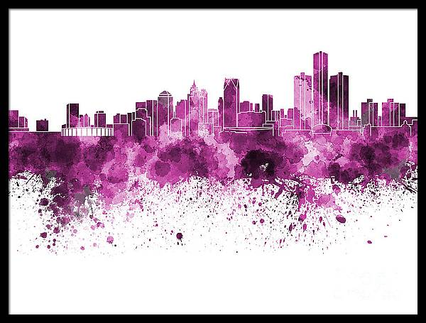 Detroit skyline in  pink watercolor on white background by Pablo Romero