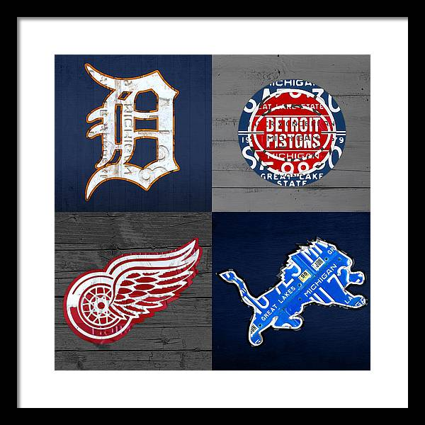 Detroit Sports Fan Recycled Vintage Michigan License Plate Art Tigers Pistons Red Wings Lions by Design Turnpike