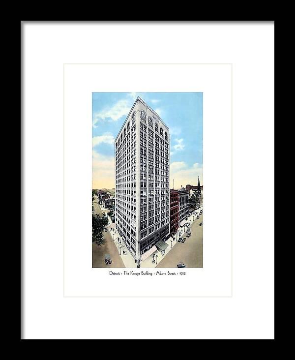 Detroit Framed Print featuring the digital art Detroit - The Kresge Building - West Adams Street - 1918 by John Madison
