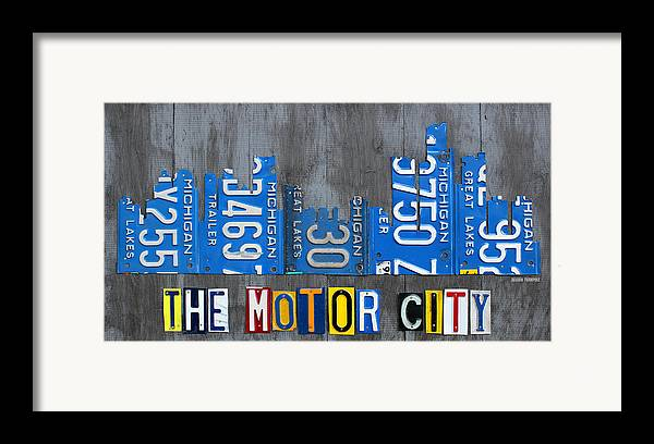 Detroit Framed Print featuring the mixed media Detroit The Motor City Skyline License Plate Art On Gray Wood Boards by Design Turnpike