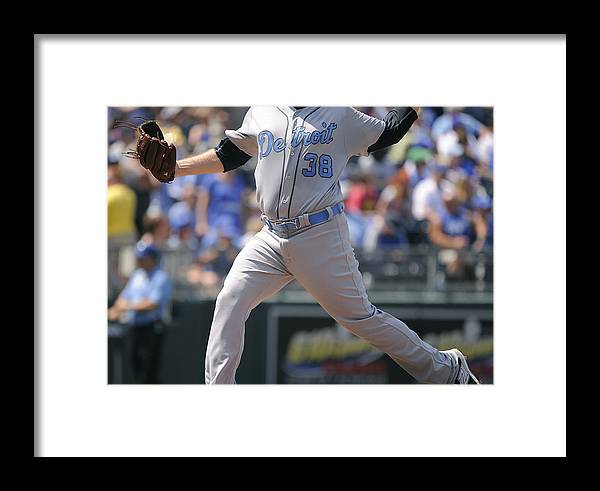 American League Baseball Framed Print featuring the photograph Detroit Tigers V Kansas City Royals by Ed Zurga