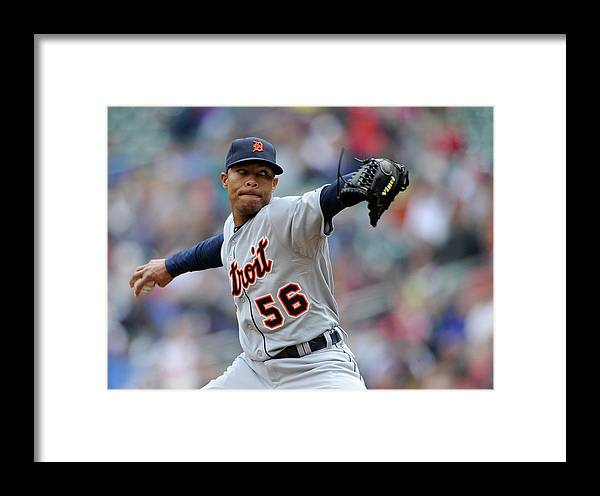 American League Baseball Framed Print featuring the photograph Detroit Tigers V Minnesota Twins by Hannah Foslien