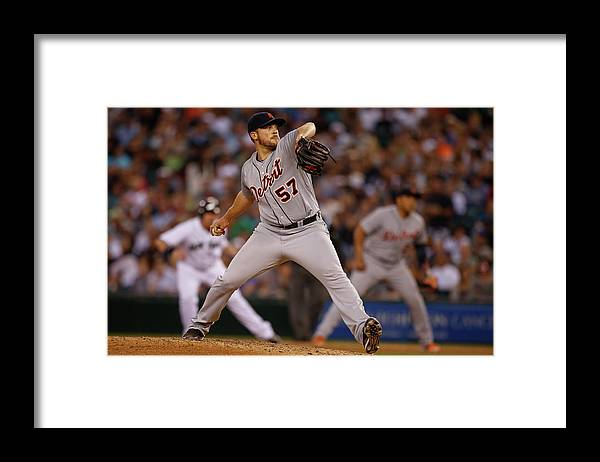 American League Baseball Framed Print featuring the photograph Detroit Tigers V Seattle Mariners by Otto Greule Jr