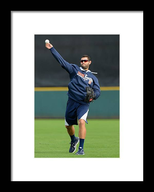 American League Baseball Framed Print featuring the photograph Detroit Tigers Workout by Mark Cunningham