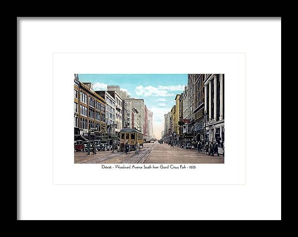 Detroit Framed Print featuring the digital art Detroit - Woodward Ave. South From Grand Circus Park - 1925 by John Madison