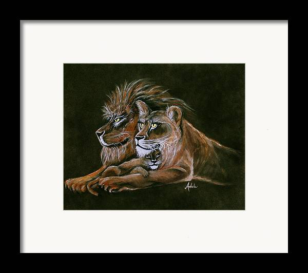 Lion Framed Print featuring the painting Devotion by Adele Moscaritolo