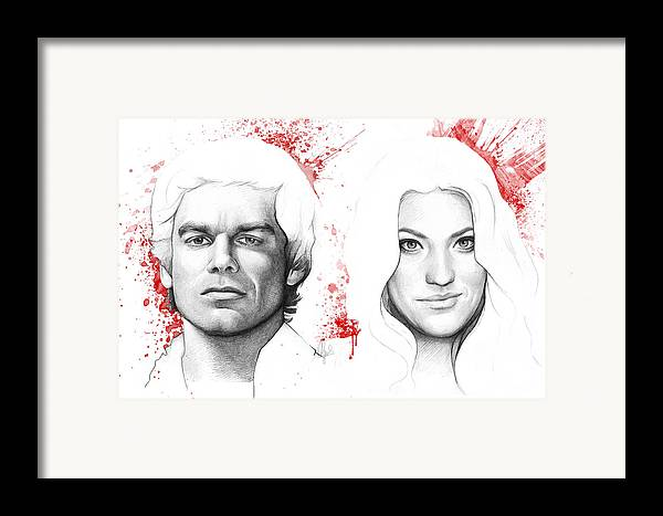 Dexter Framed Print featuring the drawing Dexter And Debra Morgan by Olga Shvartsur