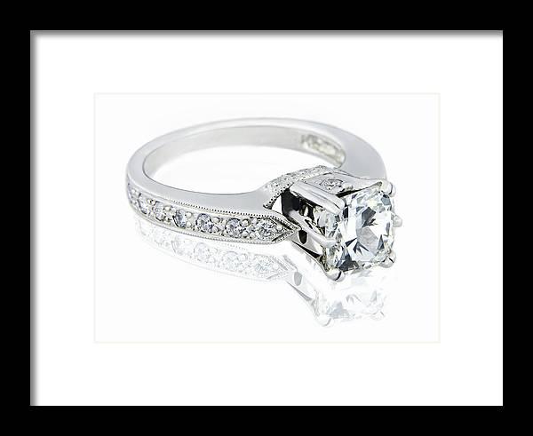 Diamond Ring On White Background Framed Print