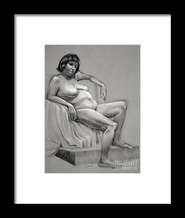 Nude Framed Print featuring the drawing Diana by Janaka Ruiz