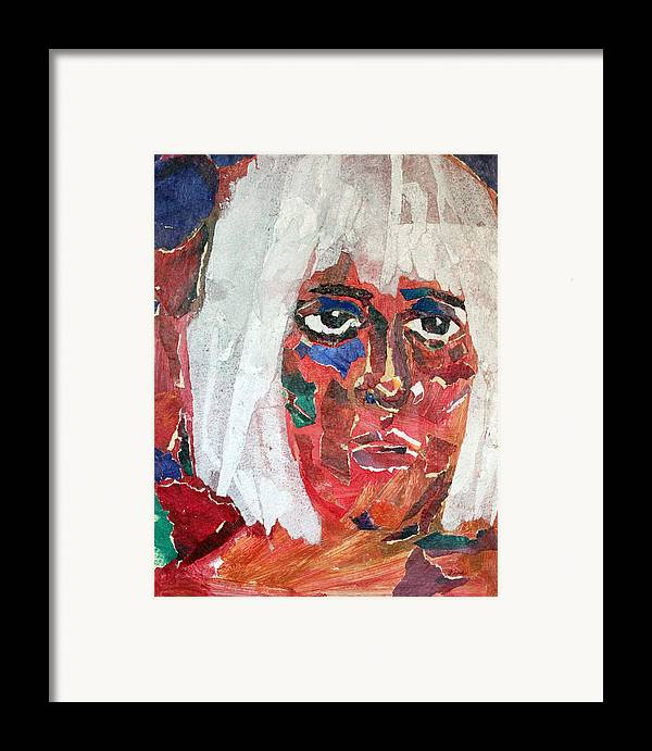 Mixed Media Portrait Framed Print featuring the mixed media Diane by Diane Fine