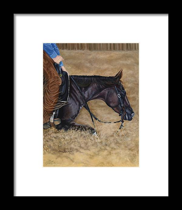 Cutting Horse Framed Print featuring the painting Dig Deep by Debra Sue Waters