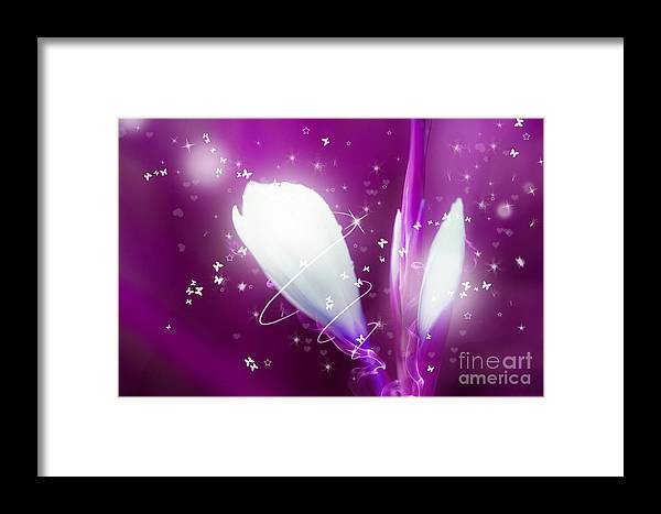 Bloom Framed Print featuring the photograph Digital Art Sparkling Flowers - Pink by Natalie Kinnear