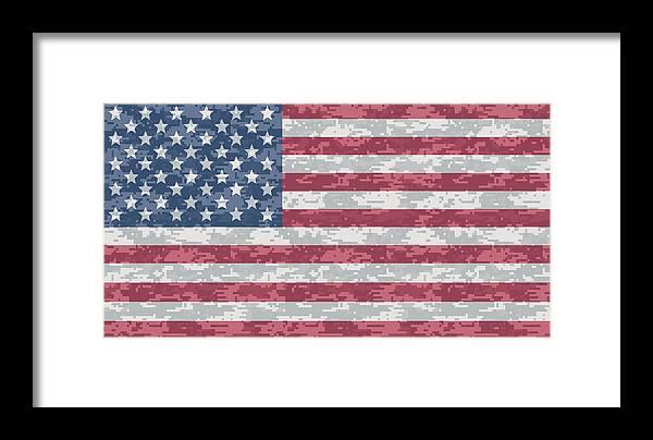 Flag Framed Print featuring the digital art Digital Camo Us Flag by Ron  Hedges 57226223bd8