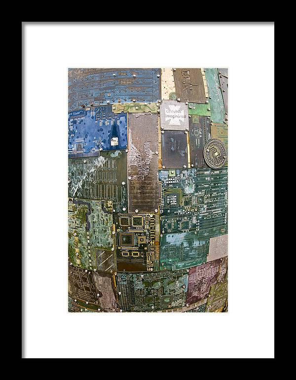 Digital Dna Framed Print featuring the photograph Digital D N A - Circuit Board Statue by Scott Lenhart