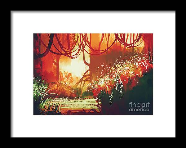 Forest Framed Print featuring the digital art Digital Painting Of Fantasy Autumn by Tithi Luadthong