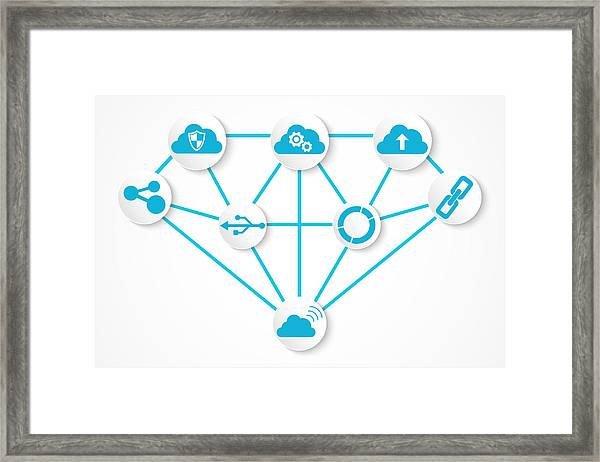 Digital Technology Icons Connection Concept With Diamond Structure