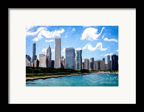 2012 Framed Print featuring the photograph Digitial Painting Of Downtown Chicago Skyline by Paul Velgos