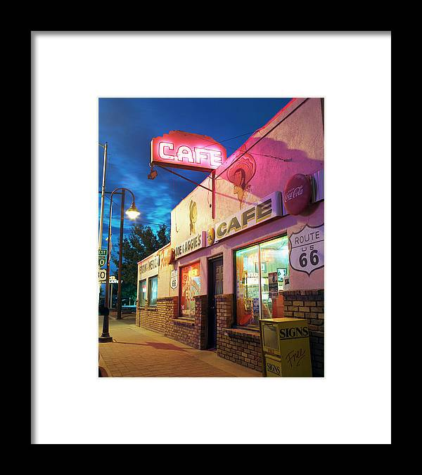 Shadow Framed Print featuring the photograph Diner Along Route 66 At Dusk by Gary Yeowell