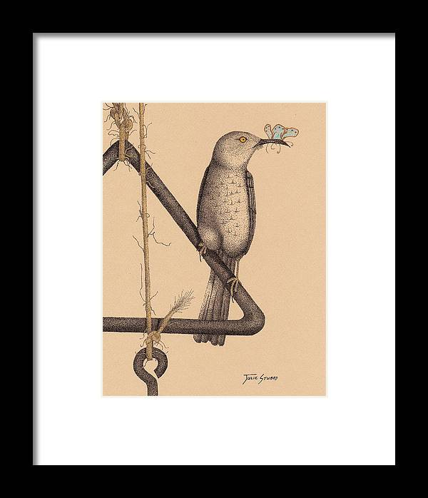 Curved Bill Thrasher Framed Print featuring the drawing Dinner by Julie Stubbs