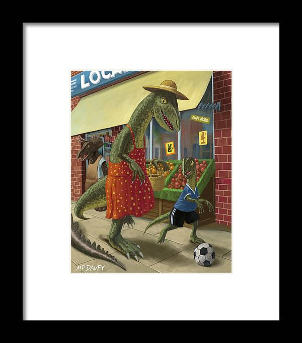 Dinosaur Framed Print featuring the painting Dinosaur Mum Out Shopping With Son by Martin Davey