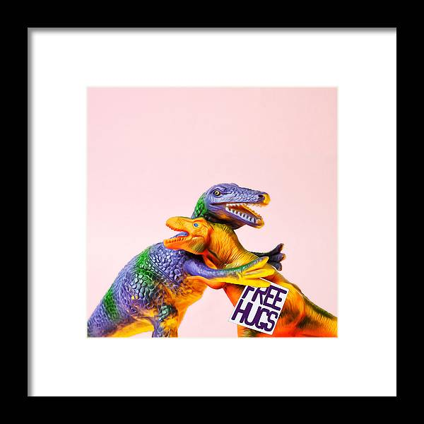 Fun Framed Print featuring the photograph Dinosaurs Hugging by Juj Winn
