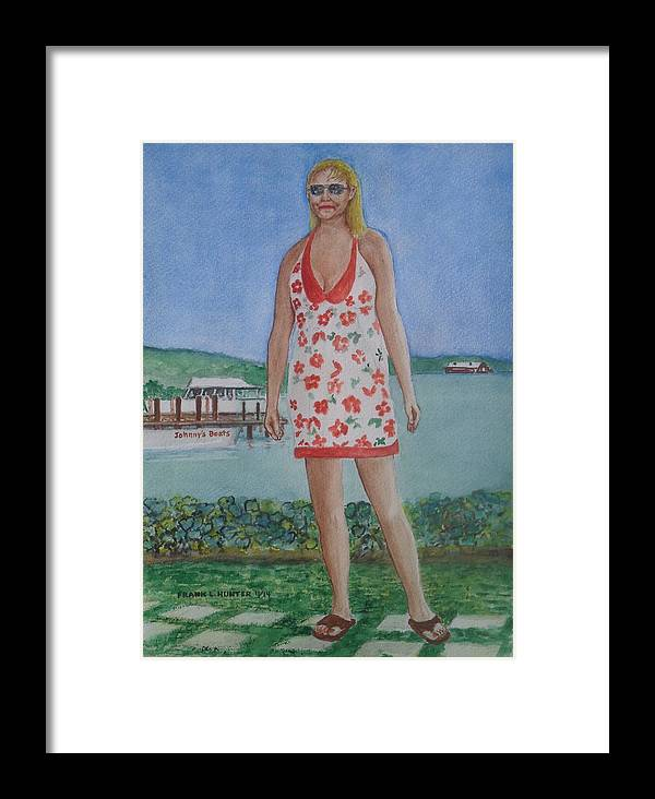 Ddiosa Amber Parguera Johnnys Boats Framed Print featuring the painting Diosa Del Mar by Frank Hunter
