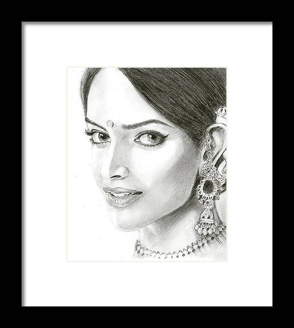 Framed Print featuring the painting Dipika Padukon by Rajesh Kalbhor