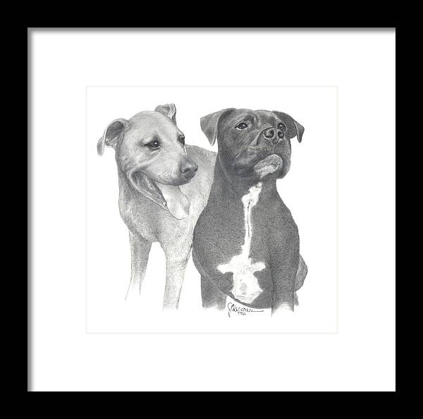 Pencil Drawing Print Framed Print featuring the drawing Dippy And Muggs by Joe Olivares