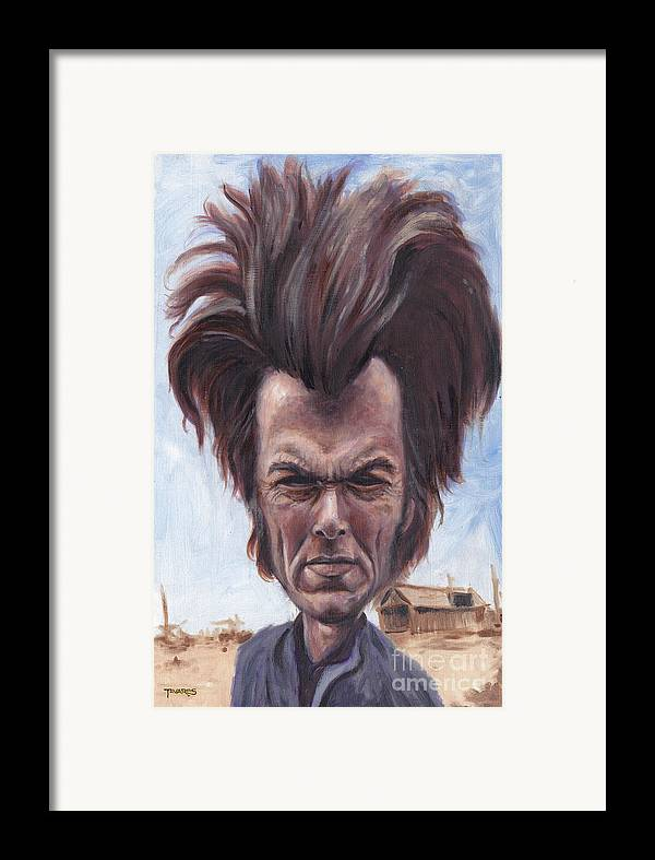 Clint Framed Print featuring the painting Dirty Hairy by Mark Tavares