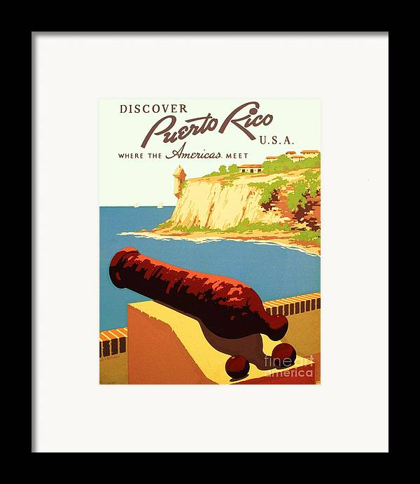 Art Deco Framed Print featuring the painting Discover Puerto Rico by Pg Reproductions
