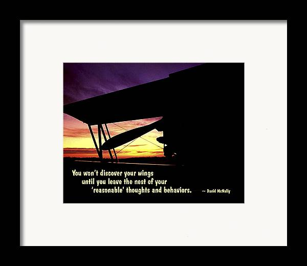 Quotation Framed Print featuring the photograph Discover Your Wings by Mike Flynn