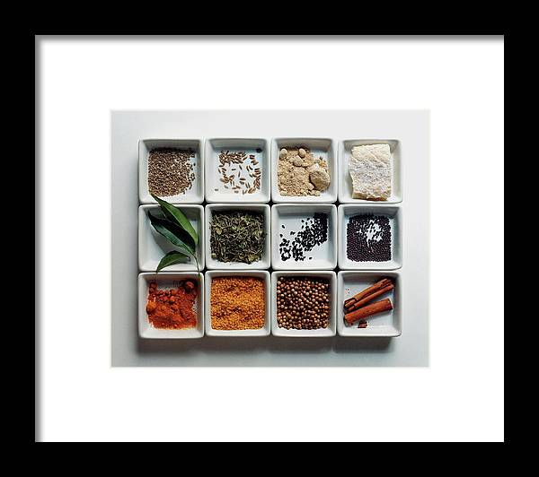 Cooking Framed Print featuring the photograph Dishes Of Spices by Romulo Yanes