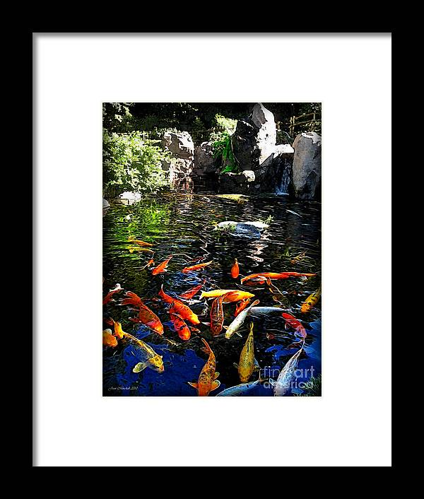 Japanese Koi Framed Print featuring the photograph Disney Epcot Japanese Koi Pond by Joan Minchak