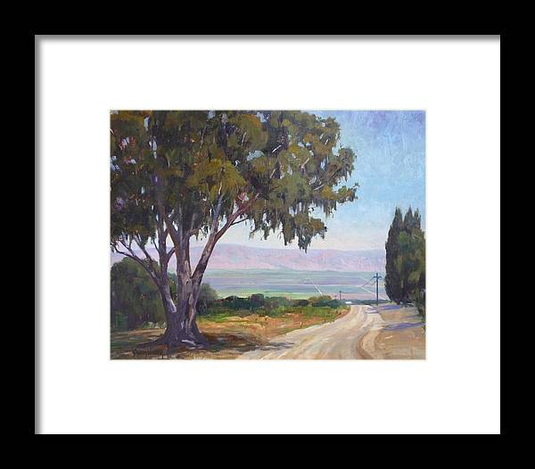California Farm Framed Print featuring the painting Distant Fields by Sharon Weaver