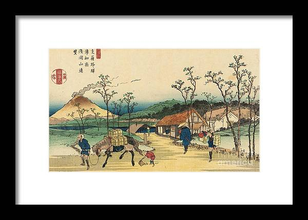 Japan Framed Print featuring the painting Distant View Of Mount Asama From Urawa Station by Ikeda Yoshinobu