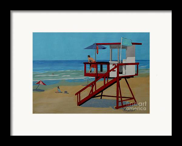 Lifeguard Framed Print featuring the painting Distracted Lifeguard by Anthony Dunphy