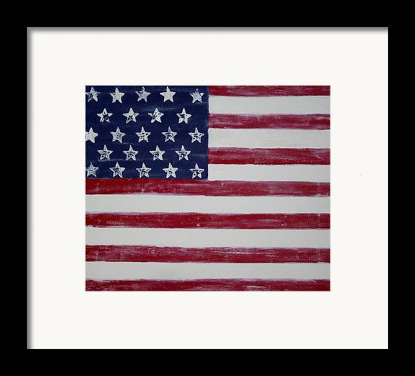 American Flag Framed Print featuring the painting Distressed American Flag by Holly Anderson