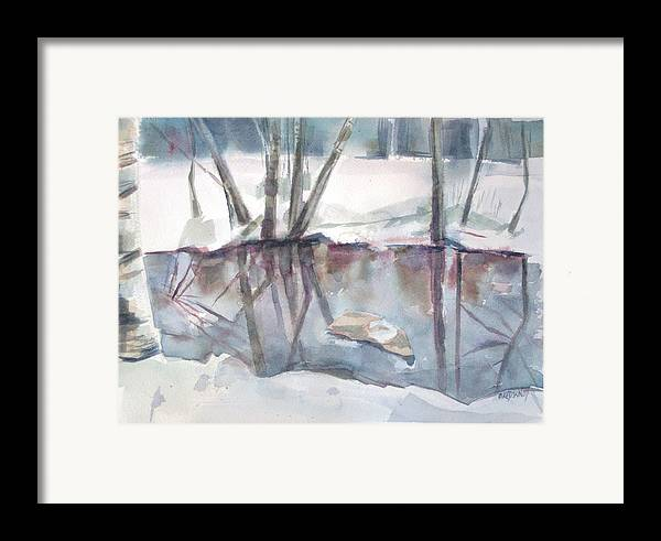 Maine Framed Print featuring the painting Ditch Pool April by Grace Keown