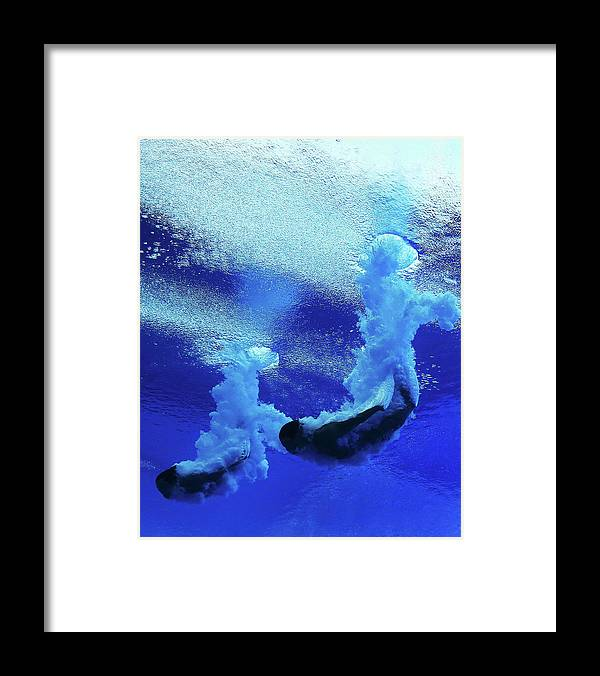 Diving Into Water Framed Print featuring the photograph Diving - 15th Fina World Championships by Al Bello