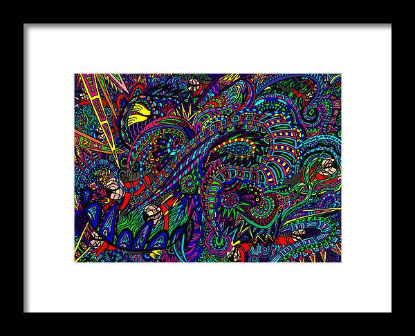 Scuba Divers Framed Print featuring the painting Diving The Deep Blue by Karen Elzinga