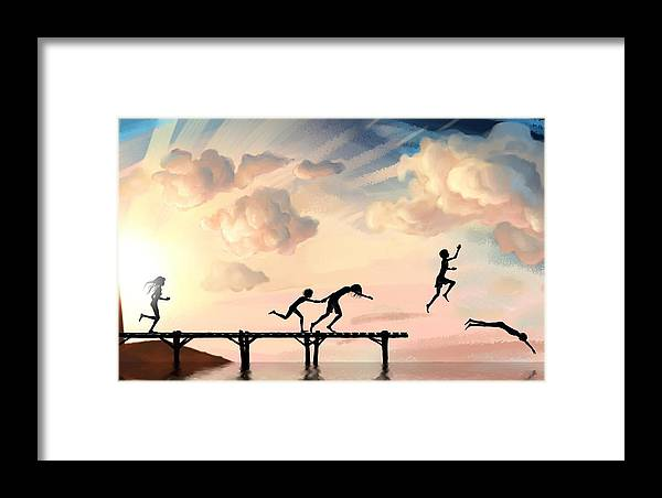 Diving Framed Print featuring the painting Diving by Tian Chen