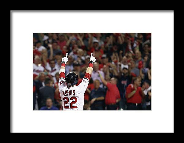 American League Baseball Framed Print featuring the photograph Division Series - Boston Red Sox V by Maddie Meyer