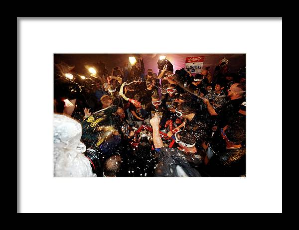 American League Baseball Framed Print featuring the photograph Division Series - Los Angeles Angels Of by Ed Zurga