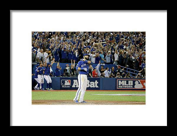 Jose Antonio Bautista Framed Print featuring the photograph Division Series - Texas Rangers V by Tom Szczerbowski