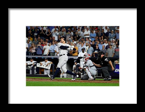 Second Inning Framed Print featuring the photograph Divisional Round - Cleveland Indians v New York Yankees - Game Four by Al Bello