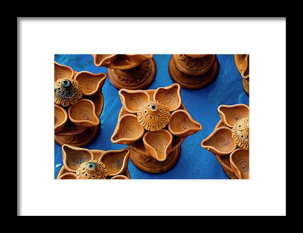 Child's Play Clay Framed Print featuring the photograph Diya by Tapasbiswasphotography