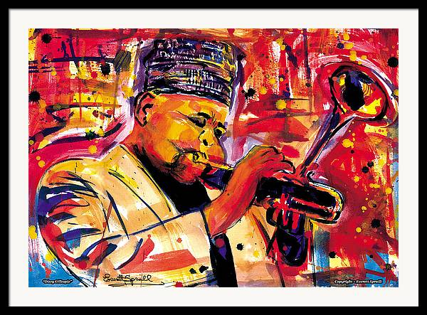 Dizzy Gillespie Framed Print featuring the painting Dizzy Gillespie by Everett Spruill