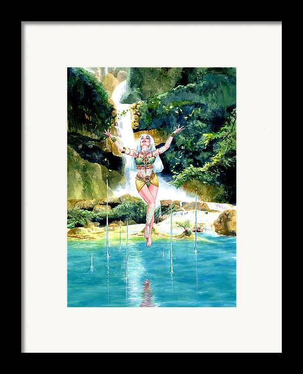 Women Framed Print featuring the painting Djinn by Ken Meyer jr