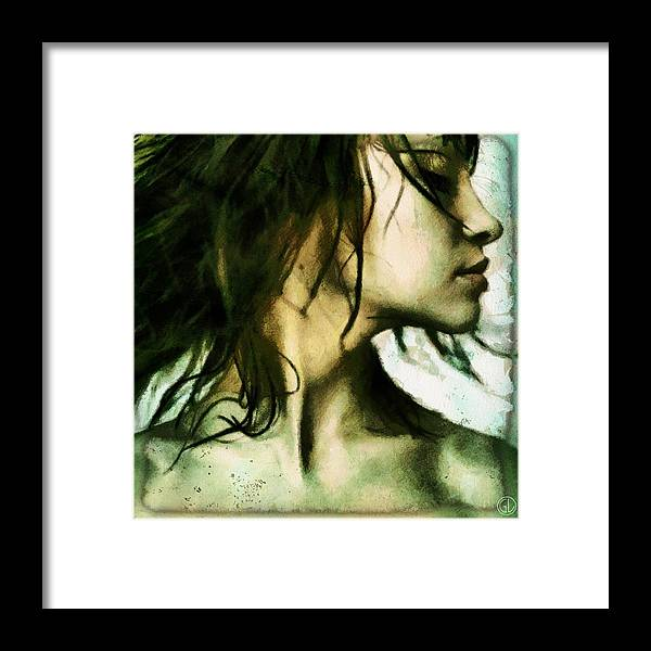 Woman Framed Print featuring the digital art Do Not Want To See by Gun Legler