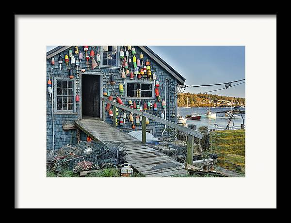 Horzontal Framed Print featuring the photograph Dock House In Maine by Jon Glaser
